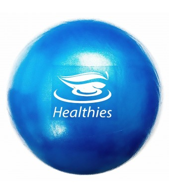 Healthies Small Exercise Ball - 9 Inch Fitness Ball for Physical Therapy, Pilates, Yoga, Barre, Shoulder and Core Training - with Straw