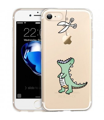 iPhone 7 Case, Unov iPhone 7 Case Clear with Design Embossed Pattern TPU Soft Bumper Shock Absorption Scratch Resistant Slim Protective Cover for iPhone 7 4.7 Inch (Dinosaur)