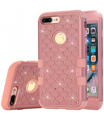 """iphone 7 Plus Case,Auker Dual Layer Armor Shockproof Bling Mermaids Diamond[Soft Silicon+Hard PC] Body Protective Slim Fit Hybrid Combo Case Cover for iphone 7 Plus 5.5"""" for Women/Men (Pink)"""