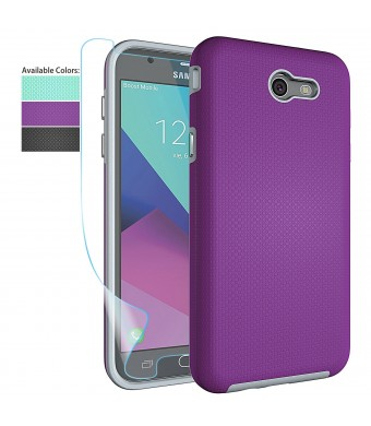 Galaxy J7 V Case,Galaxy J7 Perx Case,Galaxy J7 Prime / J7 Sky Pro / Halo Case with Screen Protector,NiuBox Dual Layer Armor Shock Absorption Protective Phone Case for Samsung Galaxy J7V 2017-Purple