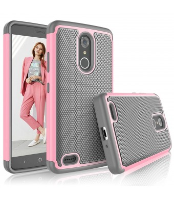 ZTE Max XL Case, ZTE Max XL Cover For Girls, Tekcoo [Tmajor] Shock Absorbing [Baby Pink] Rubber Silicone and Plastic Scratch Resistant Defender Bumper Grip Rugged Hard Cases For ZTE Max XL / N9560
