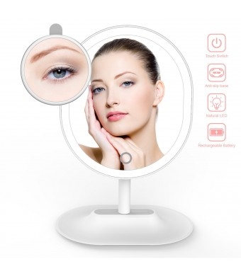 Makeup Mirror, THZY USB Rechargeable Ultra Bright Vanity Mirror with Natural LED Lights 1X/5X Magnifying Oval Shaped Touch Screen Adjustable Brightness Travel Cosmetic Mirror