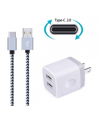 Wall Charger, Ailkin Dual USB Port Travel Adapter with 6FT Nylon Braided USB C Charge Cable for Samsung S8 S8 Plus, MacBook, LG LG5 LG6 V20, Oneplus 2, Nexus 5X/6P, ChromeBook and More USB C Devices