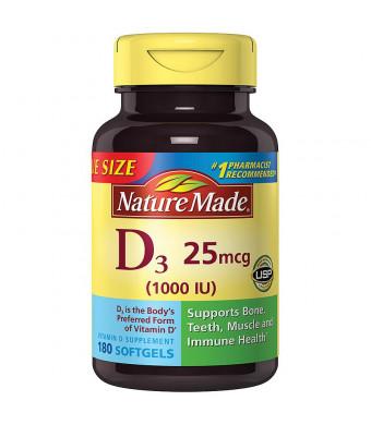 Nature Made Vitamin D3 1000 IU Dietary Supplement Liquid Softgels