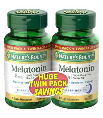 2-Pack Nature's Bounty Melatonin 5mg Dietary Supplement, Softgels