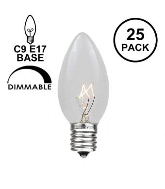 Novelty Lights 25 Pack C9 Outdoor Christmas Replacement Bulbs, Clear, E17/C9 Base, 7 Watt