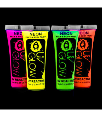Uv Glow Blacklight Face and Body Paint 0.34oz - Set of 4 Tubes - Neon Fluorescent