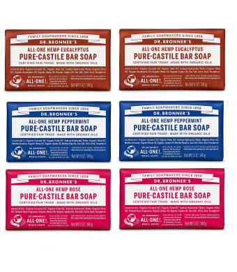 Dr. Bronner's Pure-Castile Bar Soap - Variety Pack: Eucalyptus, Peppermint and Rose (6 Count)