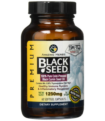Amazing Herbs Premium Black Seed Oil Soft-Gels, 60 Count