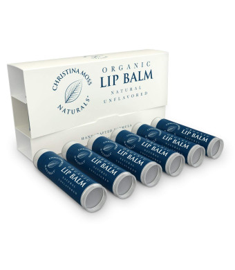 Lip Balm - Lip Care Therapy - Lip Butter - Made With Organic and Natural Ingredients - Repair and Condition Dry, Chapped, Cracked Lips - 6 Pack, Unflavored - Christina Moss Naturals