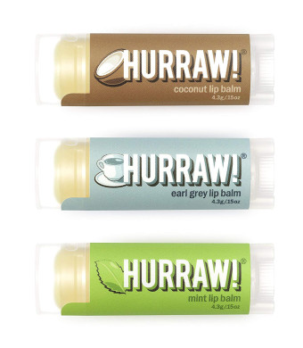 HURRAW! Coconut, Earl Grey, Mint Lip Balms Bundle: Organic, Certified Vegan, Certified Cruelty Free, Non-GMO, Gluten Free, All Natural Luxury Lip Balm Made in USA  COCONUT, EARL GREY, MINT (3 Pack)