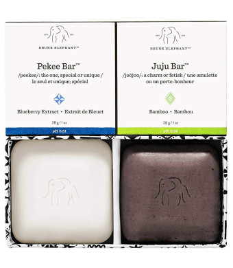 Drunk Elephant Baby Juju + Baby Pekee Travel Duo - Exfoliating Face Wash and Moisturizing Bar Soap. (1 oz each)