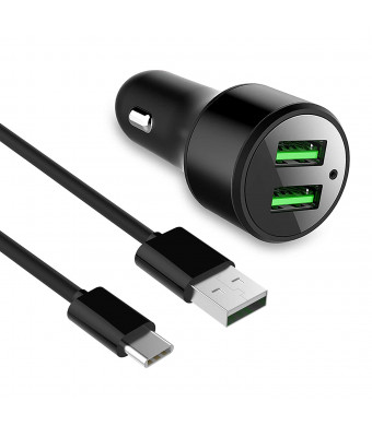 Adaptive Fast Car Charger (2-Port) 4 feet Type-C Cable Set Samsung Note 9, Compatible Other Samsung Galaxy S9, S9 Plus, Galaxy S8 Quick Car Charger 3.0 ixir. (Car Charger + Type-C Cables)