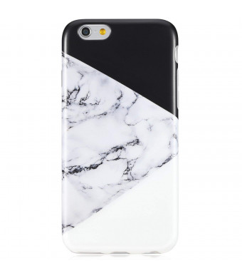 VIVIBIN iPhone 6 Case,iPhone 6s Case,Cute for Women Girls Clear Bumper Best Protective Soft Silicone Rubber Matte TPU Cover Slim Fit Best Phone Case for iPhone 6/iPhone 6s (Multi Black White Marble)
