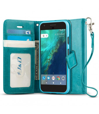 Google Pixel XL Case, JandD [Wallet Stand] [Slim Fit] Heavy Duty Protective Shock Resistant Flip Cover Wallet Case for Google Pixel XL - Aqua