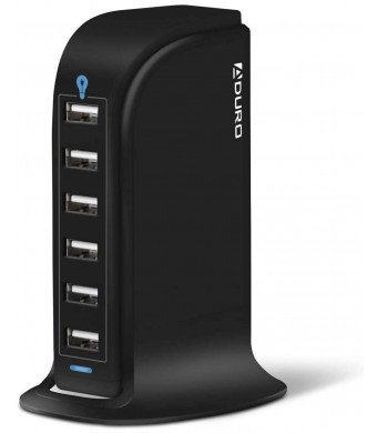 Aduro 40W 8A 6-Port USB Desktop Charging Station Hub Wall Charger Tablets Smartphones Smart Flow Technology (Solid Black)