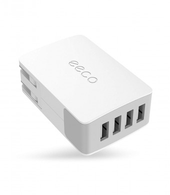 eeco 4-Port USB Wall Charger Adapter 27W 5.4A with Foldable Plug, SmartIC Fast Charging and Universal Compatibility for iPhone X/8/7/6s/ Plus, iPad Air/Pro/Mini, Samsung, Nexus, HTC, LG, and many more