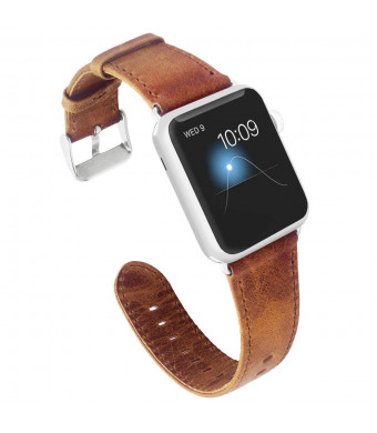 KADES Compatible Apple Watch Band Genuine Leather Replacement Strap Retro Crazy Horse Texture Compatible Apple Watch Series 4 40mm and Series 3/2/1 38mm, Brown
