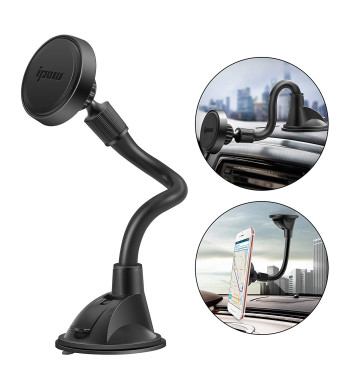 IPOW Long Arm Universal Magnetic Cradle Windshield Dashboard Cell Phone Mount Holder with Soft Firm Goose Arm, Enhanced Suction Cup