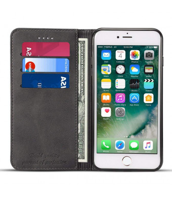 Compatible for iPhone 6/6S Leather Wallet Phone Case iPhone Case with Card Holder Kickstand Protective Flip Cover Black Cover