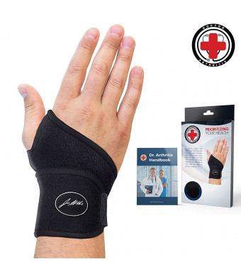 Doctor Developed Premium Copper Lined Wrist Support/Wrist Strap/Wrist Brace/Hand Support [Single]and Doctor Written Handbook Suitable for Both Right and Left Hands