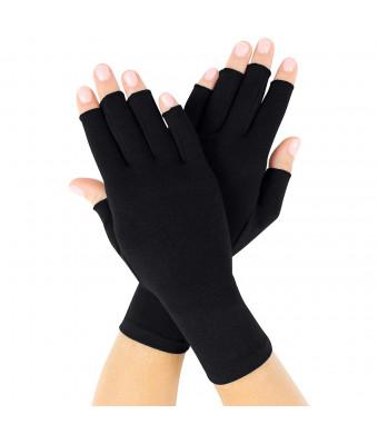 Vive Arthritis Gloves - Compression Gloves for Rheumatoid and Osteoarthritis - Black Hand Gloves Provide Arthritic Joint Pain Symptom Relief - Men and Women - Open Finger (Medium)