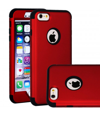 iPhone 6 Plus / 6S Plus Case, SAVYOU Shock-Absorbing Flexible Durable TPU Bumper Case Anti-Slip Front and Back Hard PC Defensive Protection Cover for Apple iPhone 6 Plus / 6S Plus Red