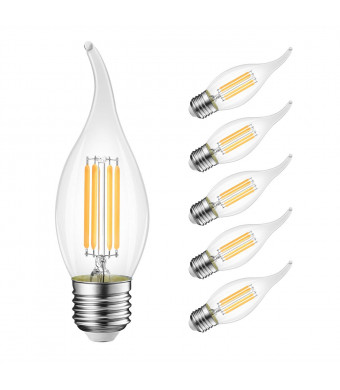 B11 Flame Tip Led Filament Bulbs E26 Candelabra Baselvwit 40w Equivalent Dimmable 3000k Soft White Chandelier Candle Light Bulb 6 Pack