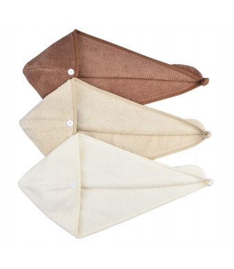 HOPESHINE Women's Soft Shower Hair Drying Towels Twist Hair Turban Wrap Drying Cap Great Gift for Women (3-Pack,Brown+Khaki+Off White)