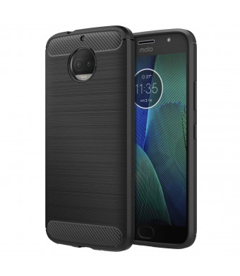 Motorola Moto G5S Plus Case, MoKo Flexible TPU Bumper Slim Fit Case Carbon Fiber Design Lightweight Shockproof Back Cover for Moto G5S+ 5.5inch (2017), BLACK