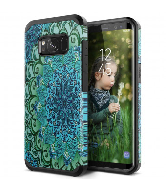 Galaxy S8 Case, SmartLegend 2 in 1 Hybrid Dual Layer Heavy Duty Protection Impact Resist Armor Protective Case with Shockproof Rubber Bumper for Samsung Galaxy S8 - Lotus Flower