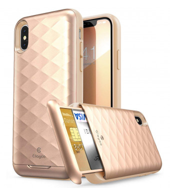 iPhone XS Wallet Case, iPhone X Wallet Case, Clayco [Argos Series] Premium Hybrid Protective Wallet Case Credit Card Slot Holder for Apple iPhone XS 2018 / iPhone X 2017 (BlushGold)