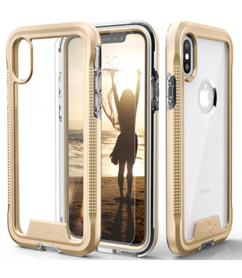 Zizo ION Series Compatible with iPhone X Case Military Grade  Drop Tested with Tempered Glass Screen Protector iPhone XS Case Gold Clear