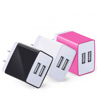 USB Plug, Eversame 3.1A 15W Dual Port Universal USB Wall Charger Plug Charging Block Compatible for iPhone X, 8/8Plus, 7/7Plus, iPad, Galaxy S9/ S8(Pack of 3, Black White Hot Pink)