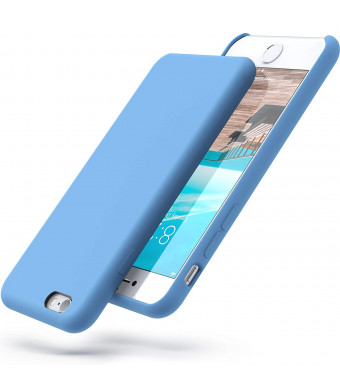 PowerBear iPhone 6 Case/iPhone 6S Case | Slim Soft Touch Liquid Silicone Gel Rubber Case | Shock Absorption and Anti Scratch Finish | for The Apple iPhone 6/6S - Light Blue [24 Month Warranty]