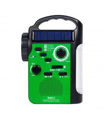 Kaito KA340 5-way Powered Rechargeable LED Camping Lantern and Emergency AM/FM/SW NOAA Weather Alert Radio with Bluetooth, Flashlight, 5V USB Mobile Phone Charger, MP3 Player and Siren (Green)