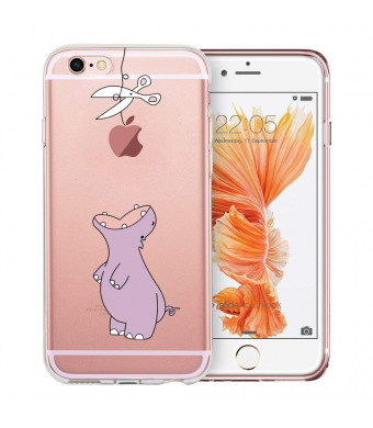 iPhone 6 Case, iPhone 6S Case, Doramifer Funny Series Protective Case [Anti-Slip] [Good Grip] with Aesthetic 3D Print Soft Back Cover for iPhone 6/6S (Chubby Hippo)