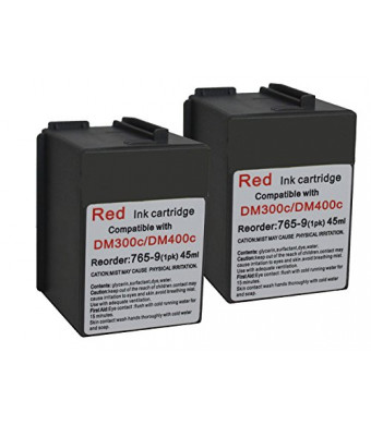 Pitney Bowes 765-9 Compatible Red Ink 2-PACK for DM300c, DM400c, DM450c Postage Meters