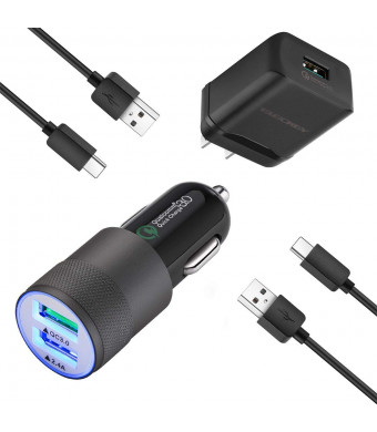 Charger Kit for Samsung Galaxy S8/S8 Plus/S9/S9 Plus/Note 9/8, LG G6/G5/V30/V20, HTC 10, Car Charger + Wall Charger