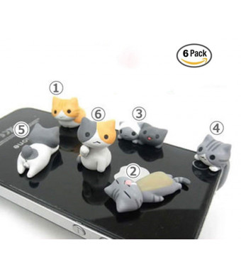 OKOK 6 Pcs Cute Cat Dust Plug Stopper Universal 3.5mm Anti Dust Earphone Jack Plug Cap for for iPhone, Samsung, HTC, More Phones and Tablets