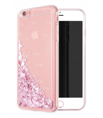 WORLDMOM iPhone 6 Plus Case, iPhone 6S Plus Case, Double Layer Design Bling Flowing Liquid Floating Sparkle Colorful Glitter Waterfall TPU Protective Phone Case for Apple iPhone 6 Plus, Rose Gold