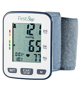 First Step For Wellness-Wrist Blood Pressure Monitor-bp, Heart Rate, Digital, Automatic, Portable, Home or Professional-with case and Batteries-for Large or Small Wrists-Simple Reliable Accurate