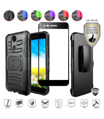 LG Aristo 2/Aristo 2 Plus/Rebel 4/K8 Plus 2018/Tribute Dynasty/Zone4/Rebel 3/Fortune 2/Risio 3/Phoenix 4 Case, Tempered Glass, Holster Clip with Stand (Black/Black)