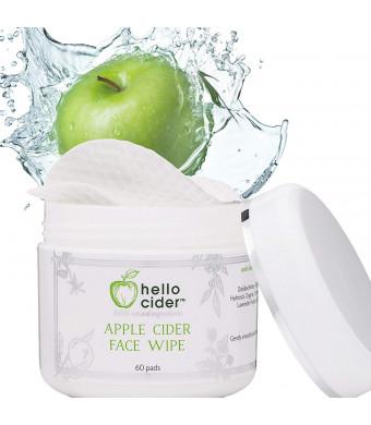Apple Cider Vinegar Face Toner Pads - Natural and Organic Witch Hazel,Tea Tree,Rose Geranium, Lavender. Balance pH, Clear Pores, Cleanser. Best for Acne Prone and Sensitive Skin 60ct.Hello Cider