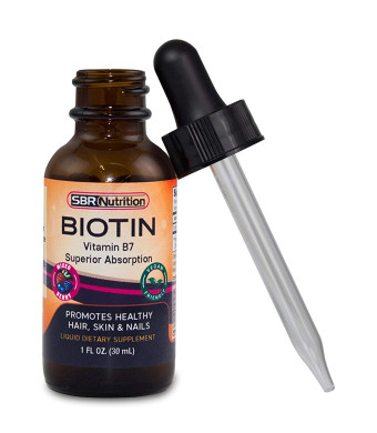 SBR Nutrition - Biotin Liquid Drops, 5000mcg Biotin per Serving, 60 Serving, Mixed Berry Flavor, No Artificial Preservatives, Vegan Friendly, Supports Healthy Hair Growth, Strong Nails and Glowing Skin, Made in USA