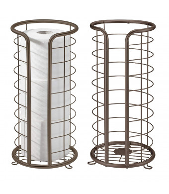 mDesign Decorative Free Standing Toilet Paper Holder Stand with Storage for 3 Rolls of Toilet Tissue - for Bathroom/Powder Room - Holds Mega Rolls - 2 Pack, Durable Metal Wire - Bronze