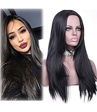 "aSulis Synthetic Long Full Wig Straight Black Hair Wigs for Black Women Middle Part Wig Natural Looking Wig Heat Resistant Wig 26"" 240g"
