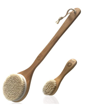 Body and Face Brush Set, Perfect for Dry Brushing, Back Body and Facial Scrub Skin Brush, Bath and Shower Exfoliating Brush With Soft Natural Horse Bristles, Great For Dead Skin Remover and Cellulite