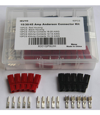 60 PCS 15/30/45 Amp Anderson Powerpole Connectors Assortment Kit, Quick Disconnect Terminals Connectors, with Connector Housing and Powerpole Come Unassembled in Box, AWG10-20