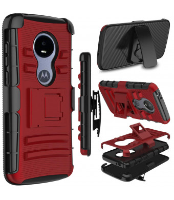 Moto E5 Play Case, Moto E5 Cruise Case, Zenic Heavy Duty Shockproof Full-Body Protective Hybrid Case Cover Swivel Belt Clip Kickstand for Motorola Moto E5 Play (Red)